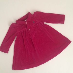Ralph Lauren Baby Girl Velvet Dress 6M Cranberry